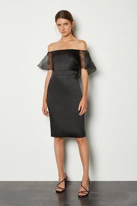 Karen Millen Bardot Cut Out Organza Sleeve Pencil Dress