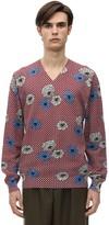 Marni Floral Print V Neck Cotton Knit Sweater