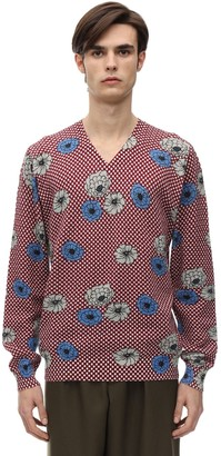 Marni Floral Print V Neck Cotton Knit Sweater