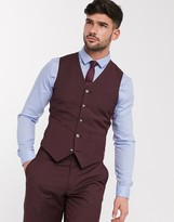 Asos Design DESIGN wedding slim suit suit vest in burgundy