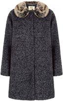 Yumi Faux Fur Collared Cocoon Coat