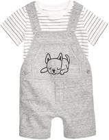 First Impressions 2-Pc. Striped T-Shirt & Puppy Overall Set, Baby Boys, Created for Macy's