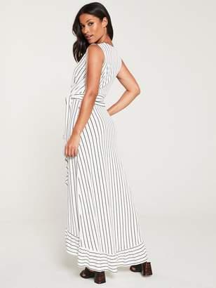Very Sleeveless Wrap Front Maxi Dress - Stripe