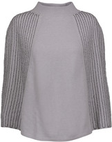Halston Beaded wool and cashmere-blend poncho