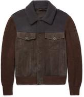 Bottega Veneta Shearling-Trimmed Suede and Wool Bomber Jacket