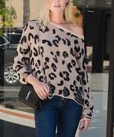 Amaryllis Women's Pullover Sweaters LEOPARD - Oatmeal Leopard Distressed Off-Shoulder Sheer Sweater - Women