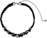 Rebecca Minkoff Arrows and Stone Charms on Braided Leather Choker Necklace