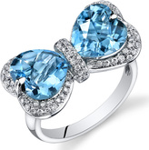 Ice 5 3/4 CT TW Swiss Blue Topaz 14K White Gold Fashion Ring with Diamond Accents