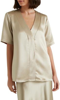 Seed Heritage Longline Satin Shirt