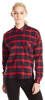 Blu Pepper Women's Plaid Woven Pocket Shirt