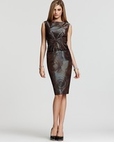 "Anne Klein Dress ""Shadow Rose"" Taffeta Pleated Peplum Dress"