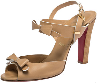 Christian Louboutin Beige Leather Bow Peep Toe Ankle Strap Sandals Size 40.5