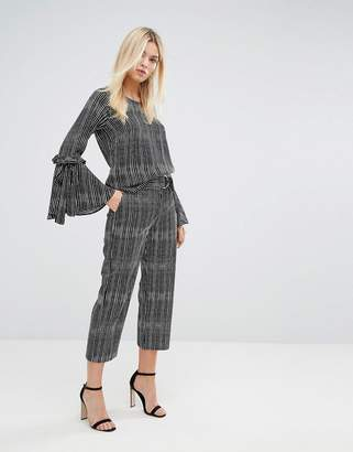 Closet London Stripe Tailored Trousers with D Ring Belt-Multi