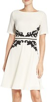Adrianna Papell Women's Applique Waist Crepe Fit & Flare Dress