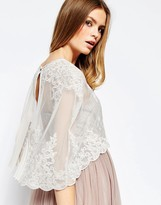 Asos Premium Wedding Lace And Pleat Back Cape