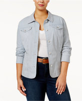 Charter Club Plus Size Pinstripe Denim Jacket, Created for Macy's