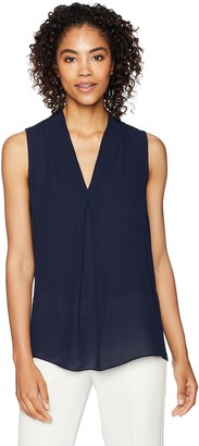 Lark & Ro Amazon Brand Women's Sleeveless Flowy V-Neck Top