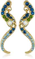 """Betsey Johnson Ocean Drive"""" Pave Crystal Snake Front and Back Linear Earrings"""