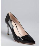 Miu Miu Black Patent Leather Glittered Sole Point Toe Pumps