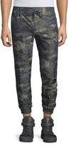 Helmut Lang Camo-Print Nylon Jogger Pants, Olive