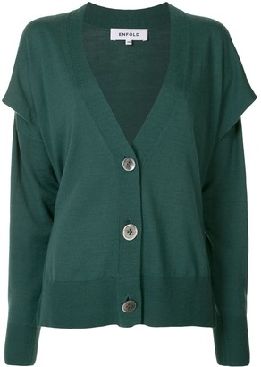 Enfold V-neck button up cardigan