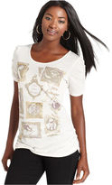 Style&Co. Top, Short-Sleeve Ruched Printed Tee