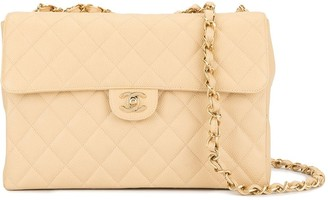 Chanel Pre Owned Quilted Jumbo Double Chain Shoulder Bag