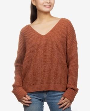 Hippie Rose Juniors' V-Neck Chenille Sweater