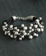 Nautilus Leather & Silvertone Bauble Bracelet