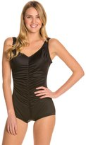Tuffy Shirred Front Girl Leg One Piece Swimsuit 8125661