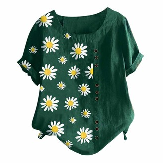 Beetlenew Womens Blouses Women T-Shirts Oversized Vintage Boho Floral Print Tunic Tops with Buttons Detail Daisy Pattern Casual Loose Short Sleeve Tee Shirts Summer Beach Baggy Blouse Shirt Plus Size M-5XL