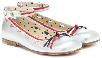 Gucci Kids Metallic-leather ballet flats