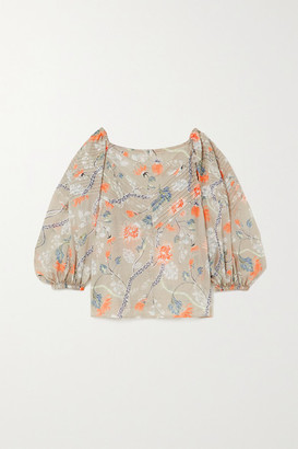 Chloé Off-the-shoulder Pleated Floral-print Ramie Blouse - Green
