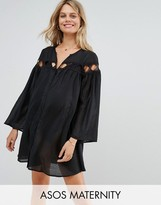 Asos Beach Cover Up Shirt with Lattice Insert Detail