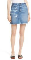 Rebecca Taylor Floral Patch Denim Miniskirt