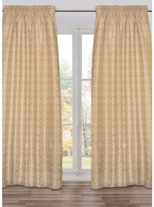 Kenisahome Ready-Made, Fully Adjustable Drape Panel Fret Work Dark Cream - 48 X 118 Inches