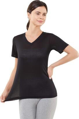Sielke A1015E Women's Pure Silk V-Neck Short Sleeve T-Shirt(Vintg Blue/Medium)