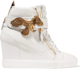 Giuseppe Zanotti Embellished leather wedge sneakers