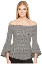 Karen Kane Diamond Jacquard Bell Sleeve Top Women's Clothing