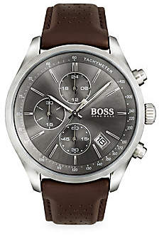 HUGO BOSS Men's Grand Prix Stainless Steel and Gray Dial Chronograph Leather Strap Watch