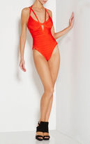 Herve Leger Neith Fishnet Bandage Swimsuit