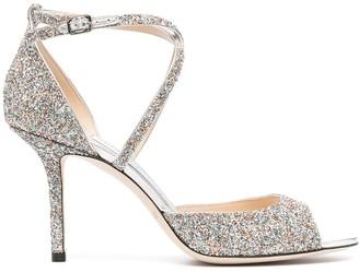 Jimmy Choo Open Toe Glitter Sandals