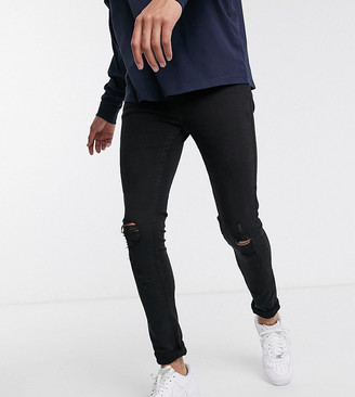 Topman Big & Tall spray on jeans with rips in washed black