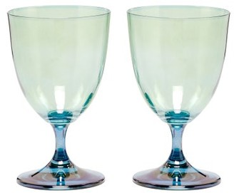 Luisa Beccaria Set Of Two Gradient Wine Glasses - Green