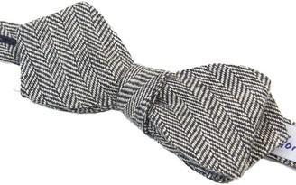 40 Colori Black & Silver Herringbone Linen Spencer Bow Tie