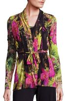 Fuzzi Tropical Floral-Print Belted Cardigan