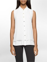 Calvin Klein Sleeveless Button Down Blouse