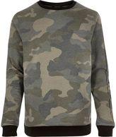 River Island MensGreen camo sweatshirt