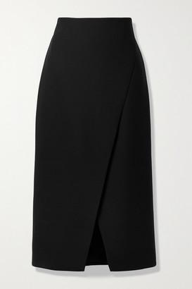 Theory Wrap-effect Woven Midi Skirt - Black