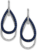 Effy Sapphire (5/8 ct. t.w.) and Diamond (3/8 ct. t.w.) Open Double Teardrop Earrings in 14k White Gold